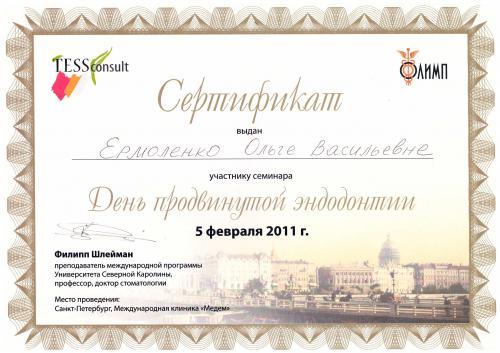 Сертификат Ермоленко Ольга Васильевна